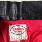 Damen black leather pants brand lining