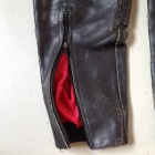 Damen black leather pants lower leg zipper